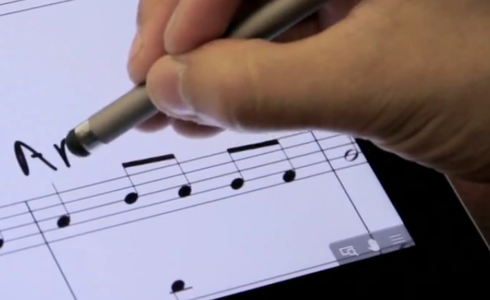 Close-up screen capture of 0:42 of ThinkMusic video, showing GoodReader Freehand drawing mode icons
