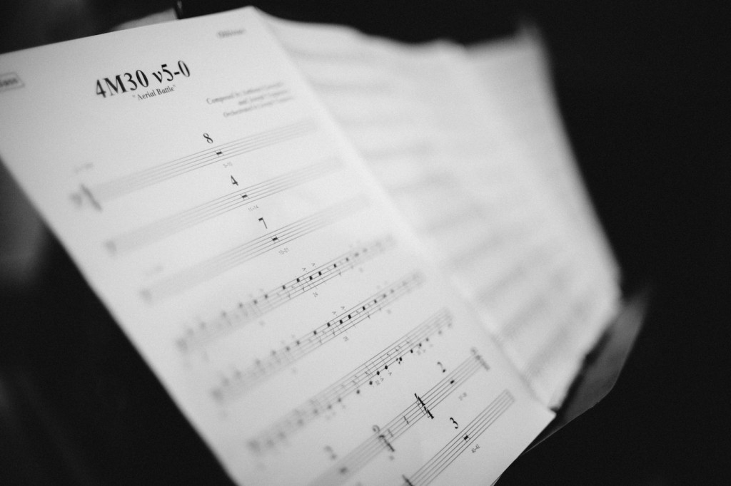 One of the many cues prepared for in Sibelius for 'Oblivion' by Booker White and the Disney music prep team (Photo: Cornelius J. Martin)