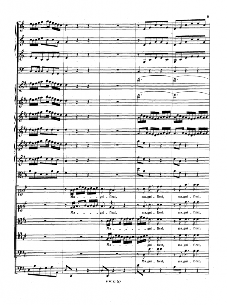 Page from J.S. Bach's Magnificat in D BWV 243 from Bach-Gesellschaft Ausgabe, Band 11.1 (click for PDF)