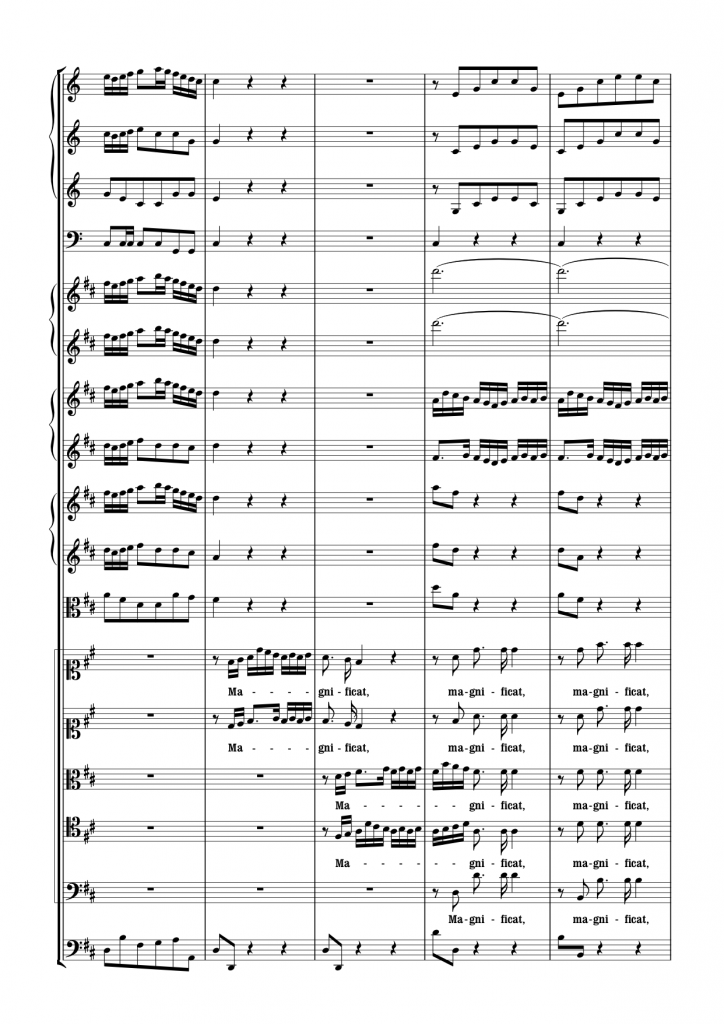 Page from J.S. Bach's Magnificat in D BWV 243 set by me in Sibelius 7.1.3, using Kapellmesiter II (click for PDF)