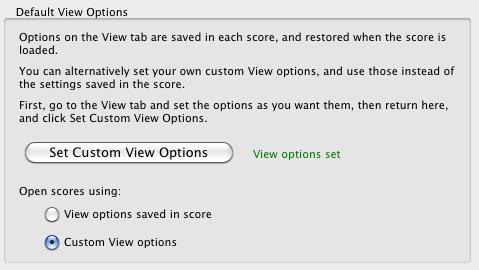 default view options