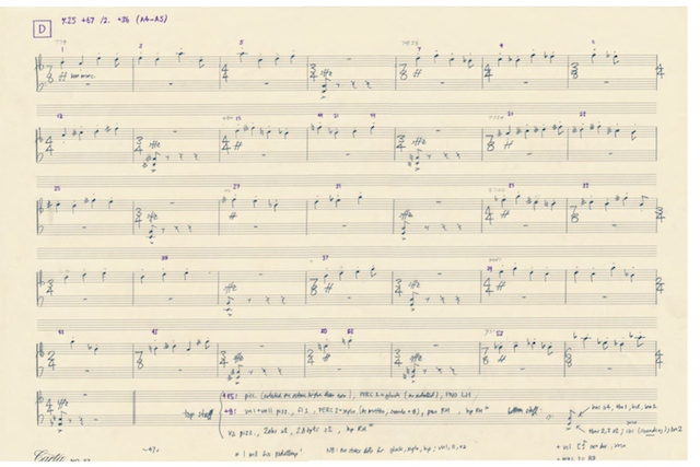 """Section """"D"""" from Shafer Mahoney's new compostion for the Lamont Symphony Orchestra (click for large version). Courtesy Shafer Mahoney"""