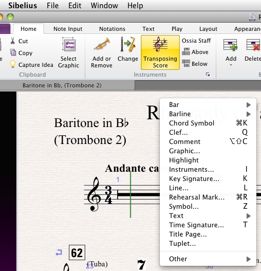 The Create menu in Sibelius 7...