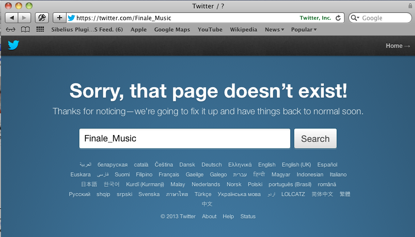 The Finale Twitter account, disabled as of this morning