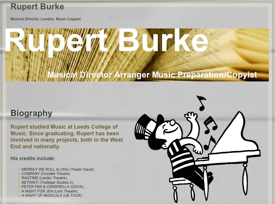 Screenshot of rupertburke.com taken shortly before it expired on May 6, 2013