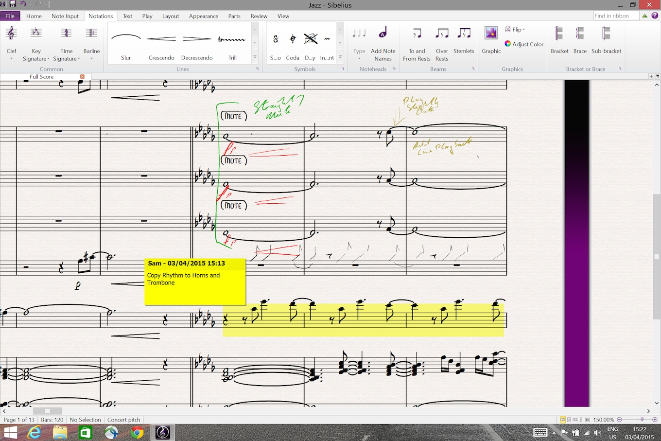 Annotating music in Sibelius (promotional image provided by Avid)