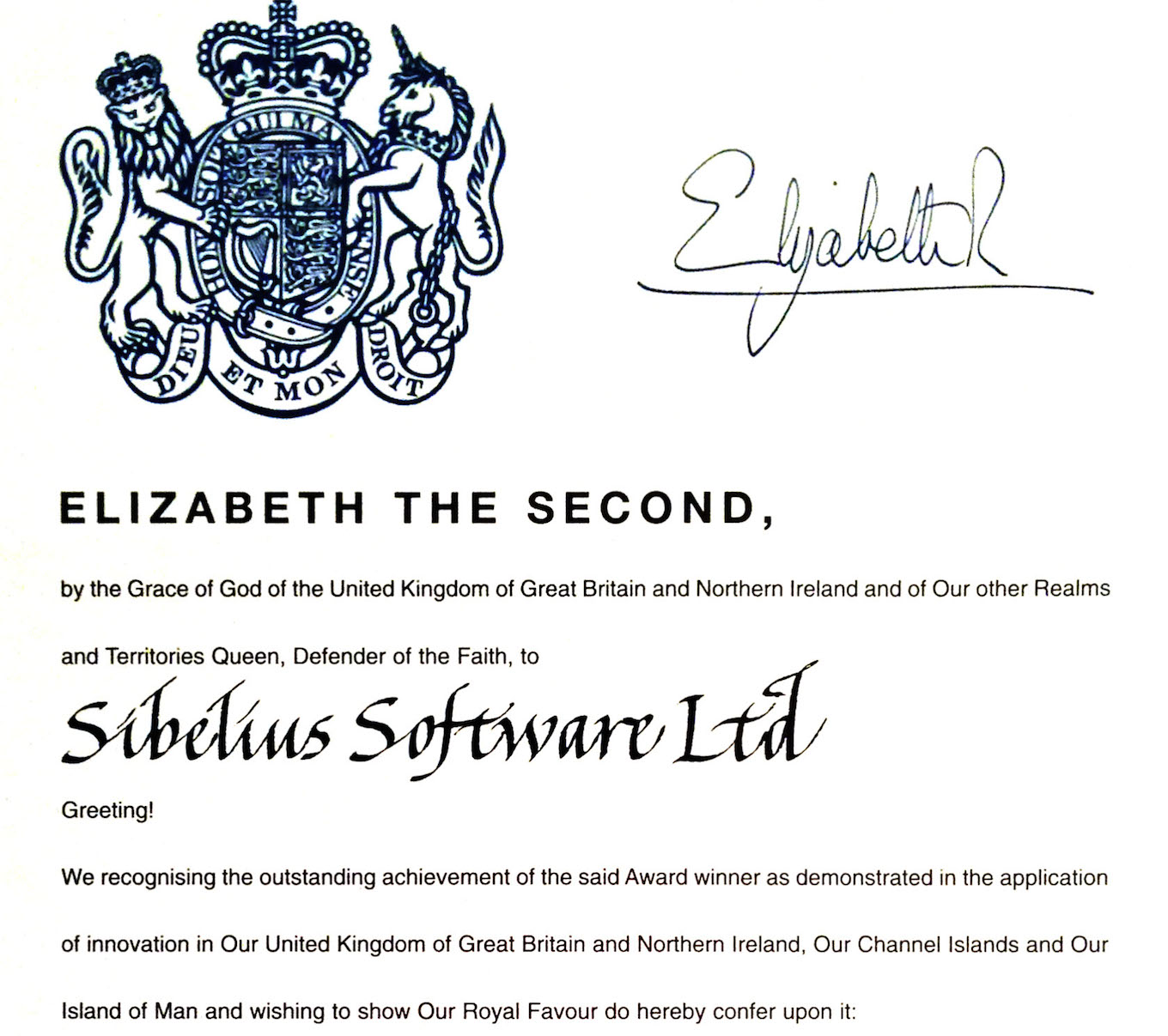 The Queen's Award for Enterprise, given to Sibelius in 2005 (click for full proclamation)