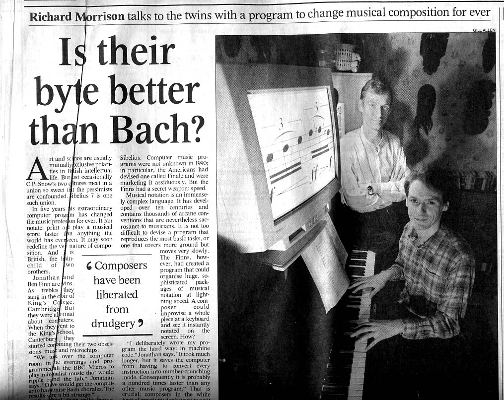 January 1996 article about Sibelius in The Times (London)