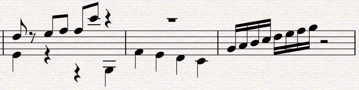 Rests continue in same vertical alignment: On