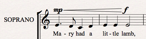Dynamics are automatically positioned above vocal staves