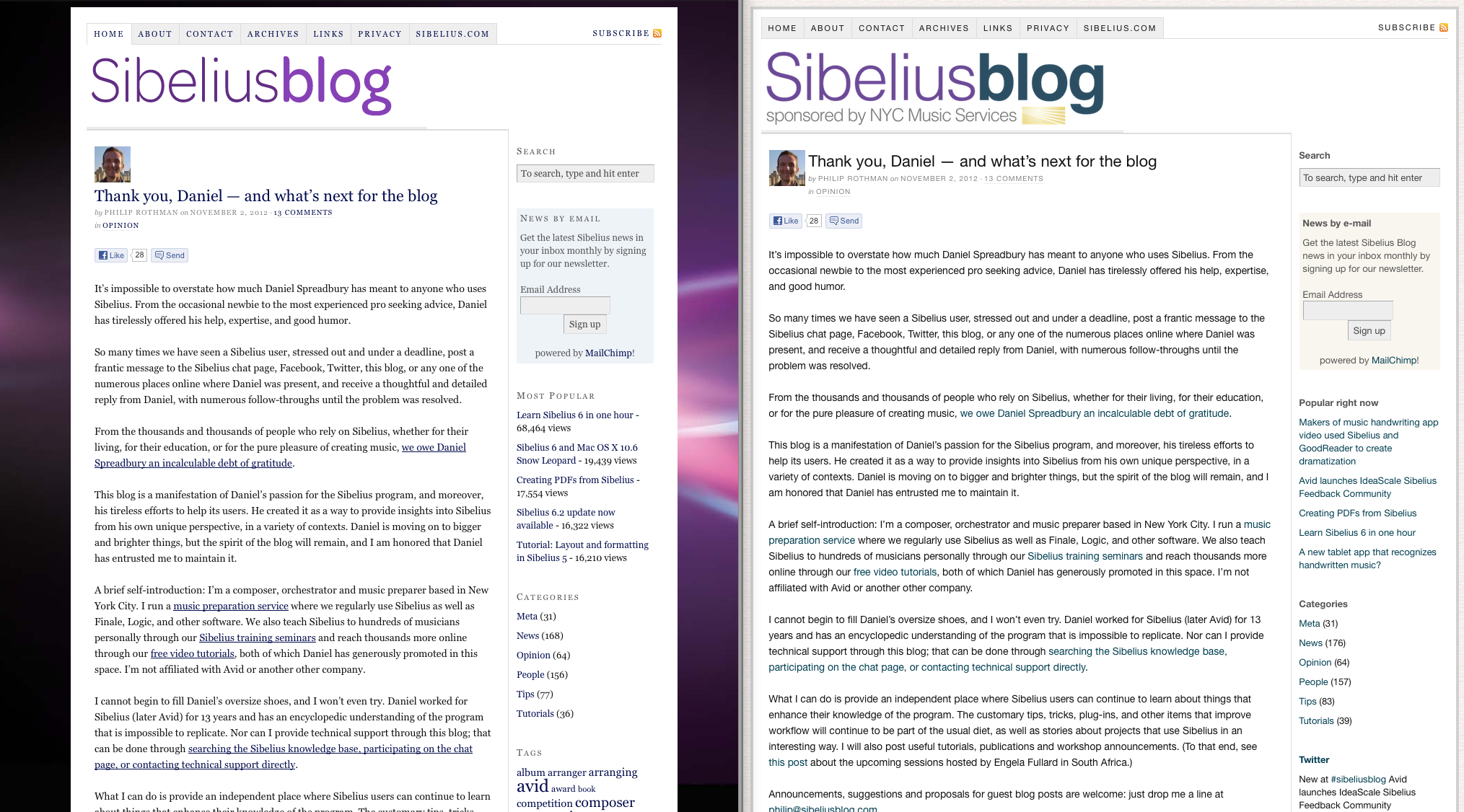 The blog, before and after the refresh