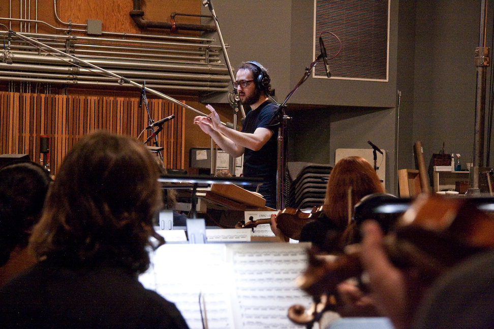 Composer Joseph Trapanese conducting the recording sessions for Oblivion on the Fox Newman Scoring Stage in Los Angeles (Photo: Thomas Miskuiz)