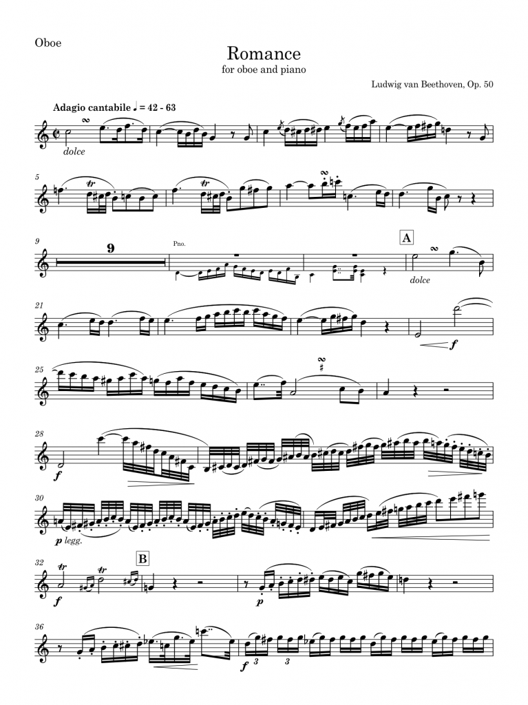 Beethoven's Romance, Op. 50 (solo part arranged for oboe), using the pre-release version 0.1 of Bravura, modified by Andrew Moschou as Taneyev, set by me in Sibelius 7.1.3 (click for PDF)
