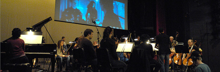 A participant recording a cue at the NYU/ASCAP Foundation Film Scoring Workshop in Memory of Buddy Baker