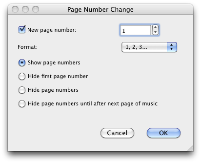 Page number change