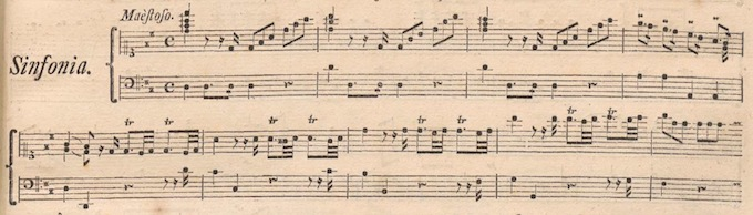 Sample from the keyboard reduction of J.A. Hasse's 'Alcide al Bivio', Breitkopf, Leipzig, 1763 (click for full page)
