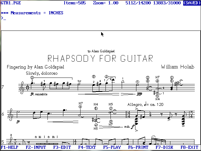 Screen grab from SCORE, featuring Bill Holab's Rhapsody for Guitar. Engraved in the late 80s, it shows the crude stick-figure font used in the early days of the program, but also its remarkable flexibility with things like custom time signatures.