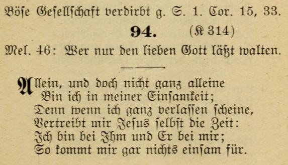 """The original hymn """"Allein, und doch nicht ganz alleine"""" (Source: Hymnary.org)"""