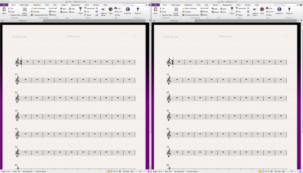 Identical cousins: Sibelius 7.1.3 on the left, and Sibelius 7.5 on the right