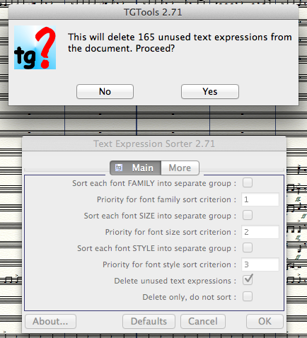 TGTools' Text Expression Sorter, running in Finale 2014 on Mac OS 10.9.1