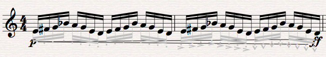 A passage after running Hide Articulations (the hidden notes are only for playback; they will not print)