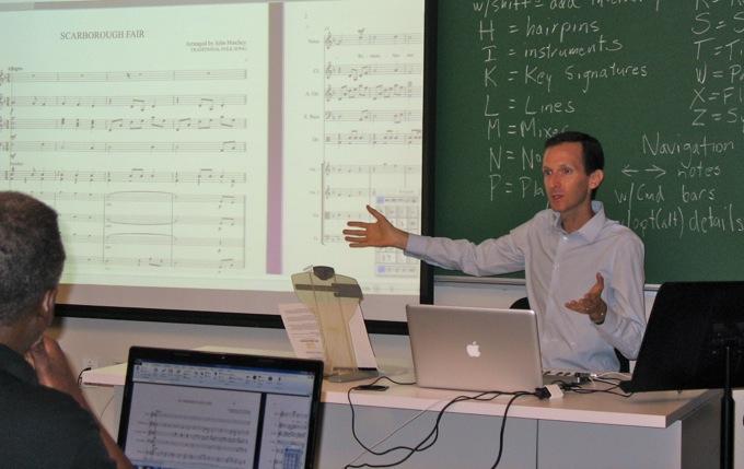 Presenting a Sibelius training session