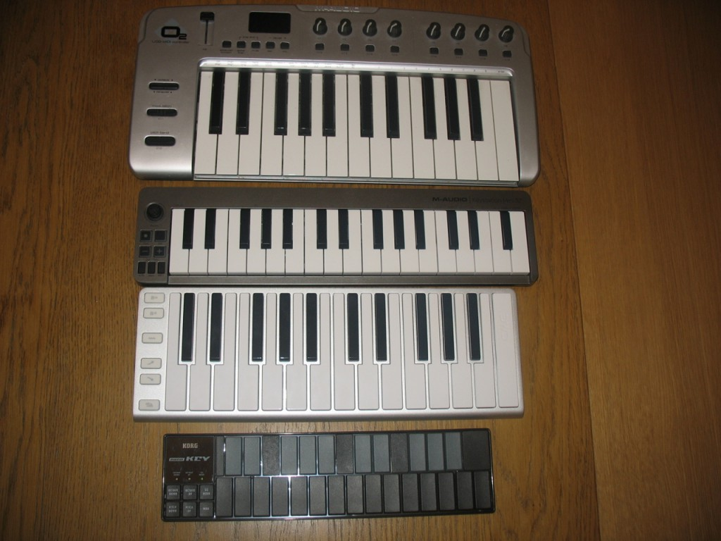 Top to bottom: M-Audio O2, M-Audio Keystation Mini 32, XKey, Korg nanoKey