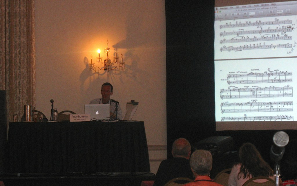 Delivering a presentation about Finale, Sibelius, and library work, at the 2014 MOLA conference