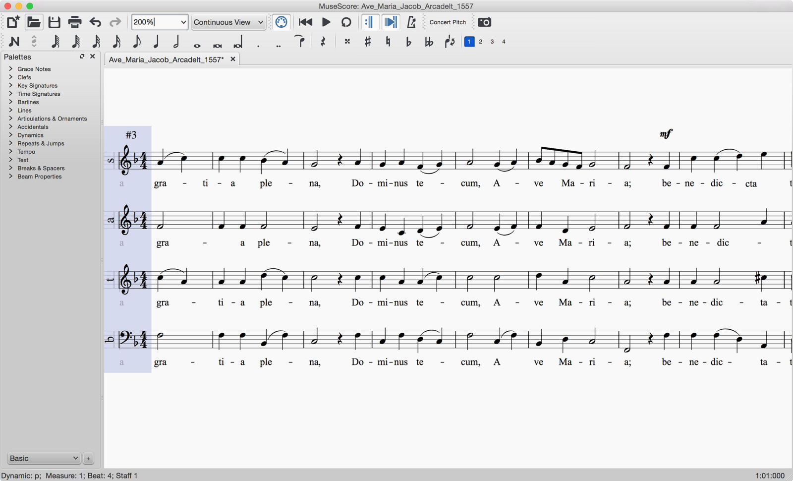 A score in Continuous view, new in MuseScore 2.0
