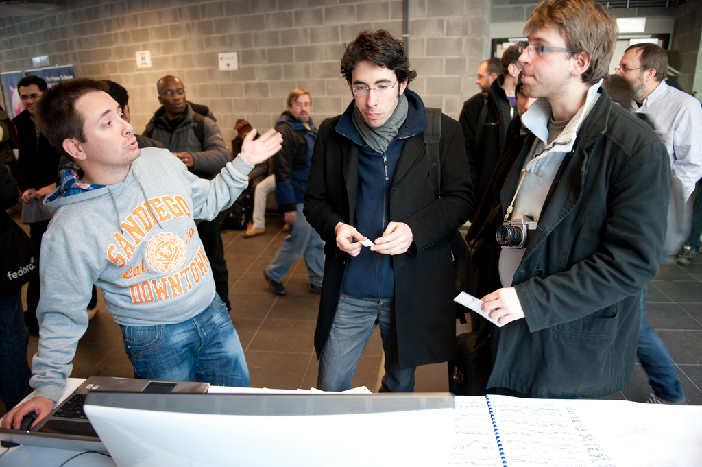 MuseScore co-founder and CTO Nicolas Froment (L) demonstrating MuseScore