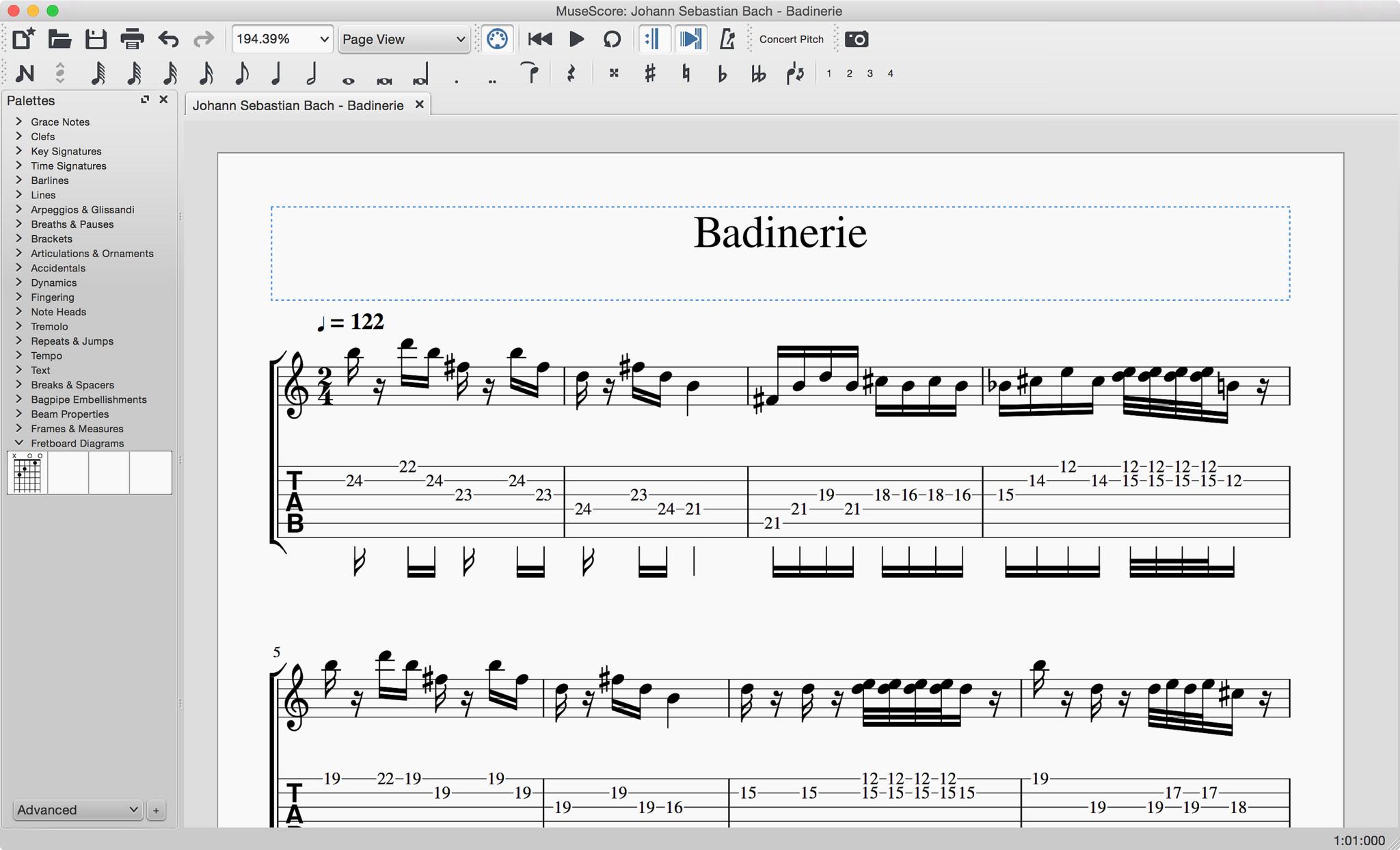Guitar tab in MuseScore 2.0