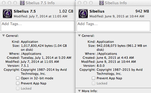 Sibelius 7.5 on the left, with 32-bit support, and Sibelius 8.0 on the right, without it