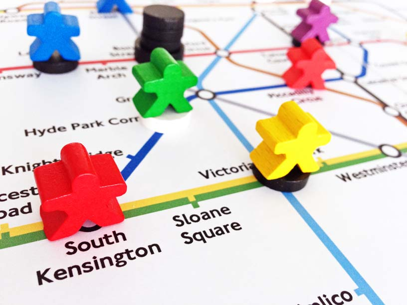 A board game invented by Ben Finn based on the London Underground