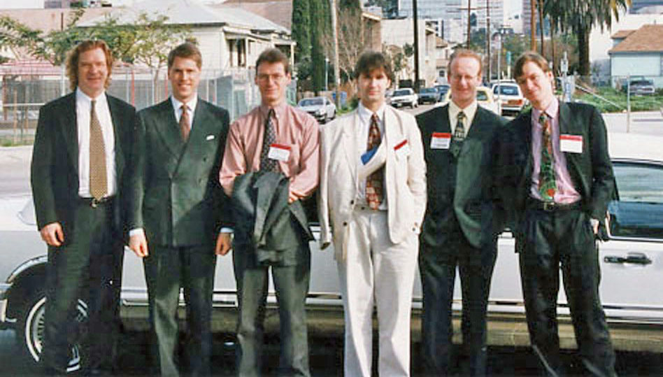 US trade show, NAMM in Anaheim CA, Jan. 1998: Marty Walker, Robert Cowan, Jonathan Finn, Michael Price, Robin Hodson, Ben Finn