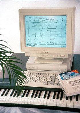 Sibelius 7 on an Acorn RiscPC computer, c. 1995