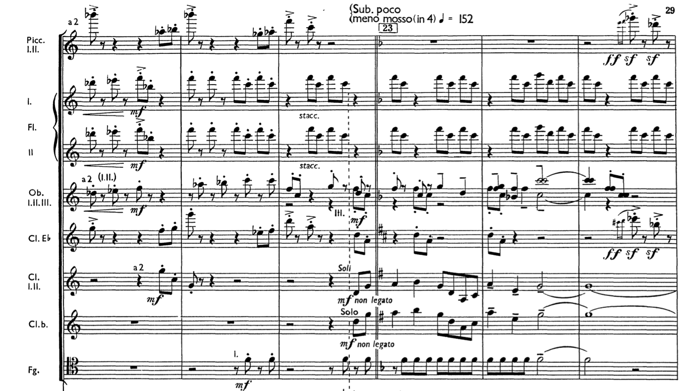 A section from Aaron Copland's Third Symphony, transitioning from open key to F major
