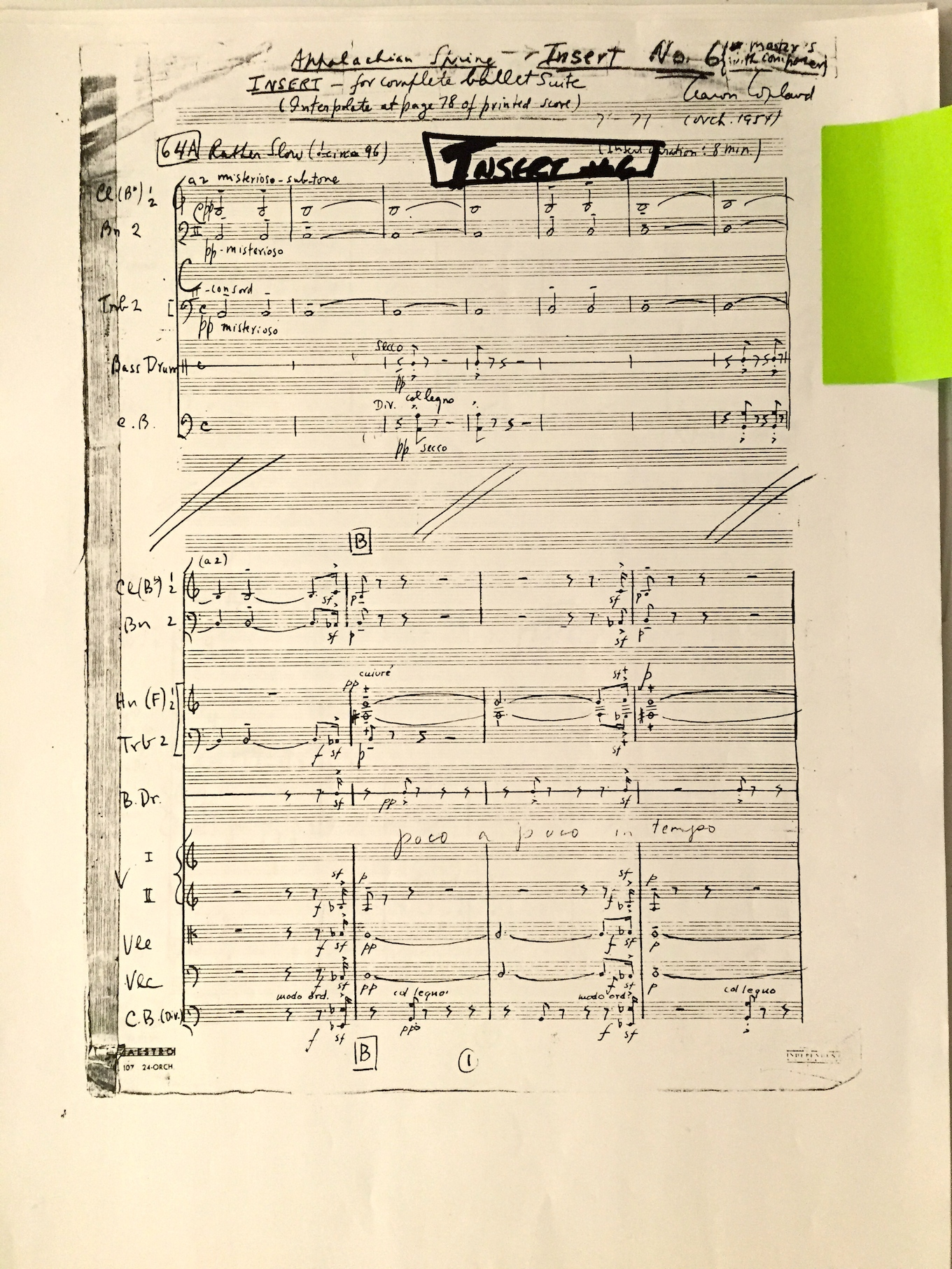 "The first page of ""Insert No. 6"" for the extended suite of Copland's Appalachian Spring, now to be included in the complete ballet for orchestra"