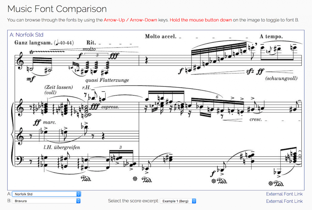 The Music Font Comparison tool