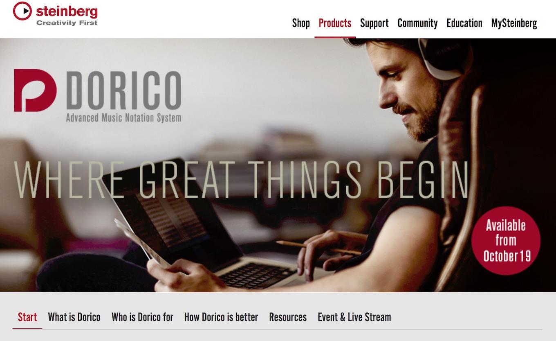A screenshot of the Dorico web site, today