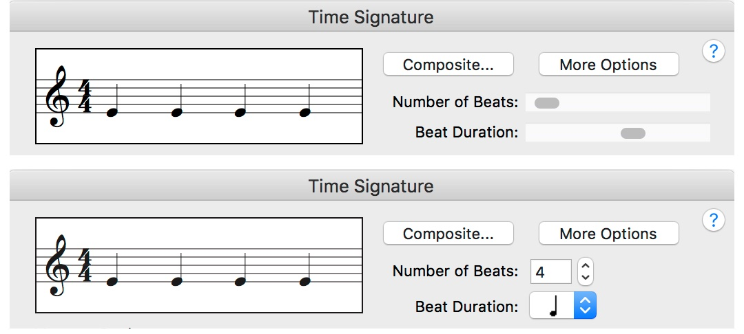 The Time Signature dialog, pre- and post-update