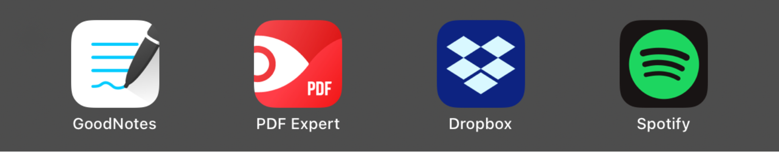 App icons for GoodNotes, PDF Expert, Dropbox, and Spotify