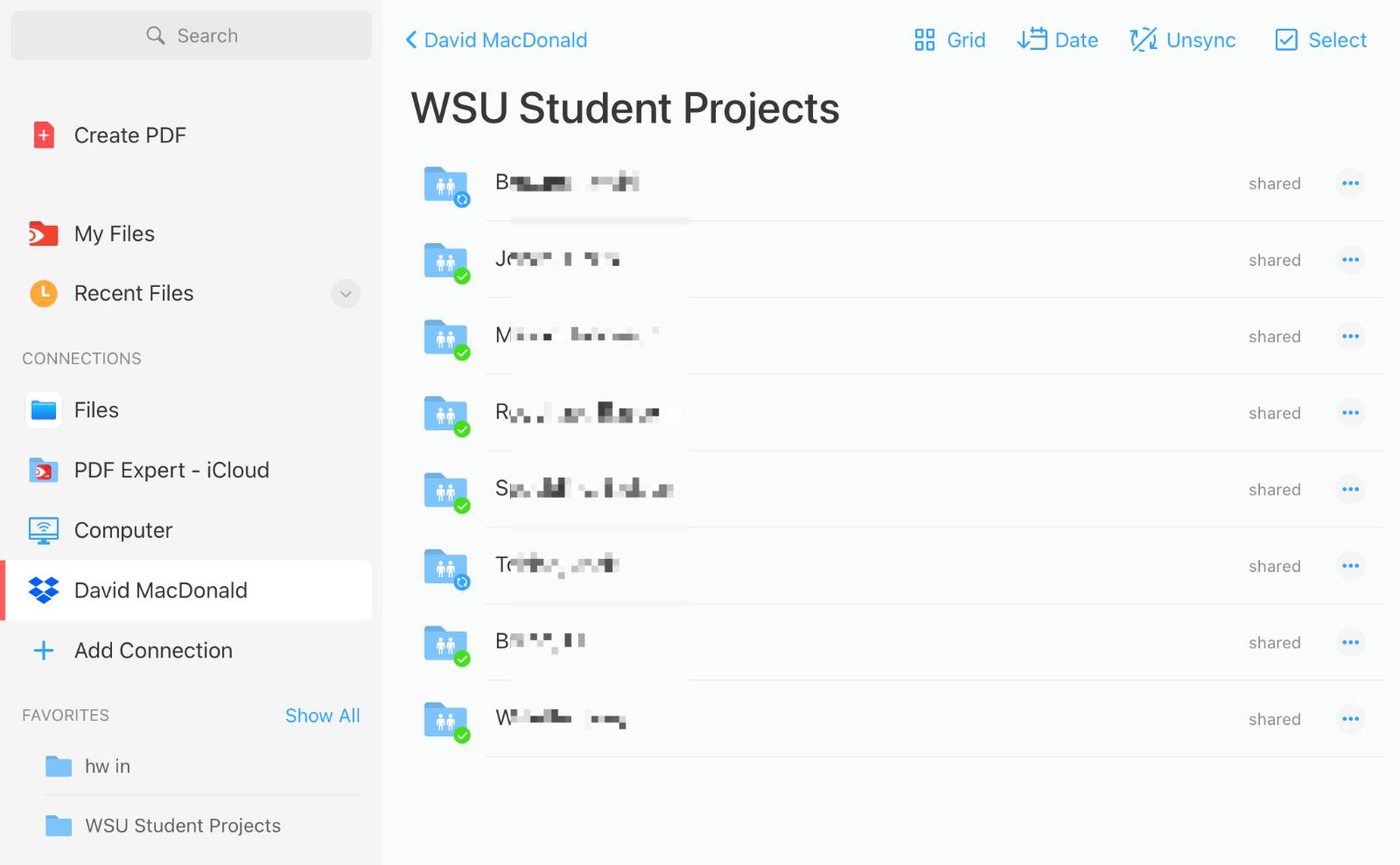 Folder listing in PDF Expert screenshot