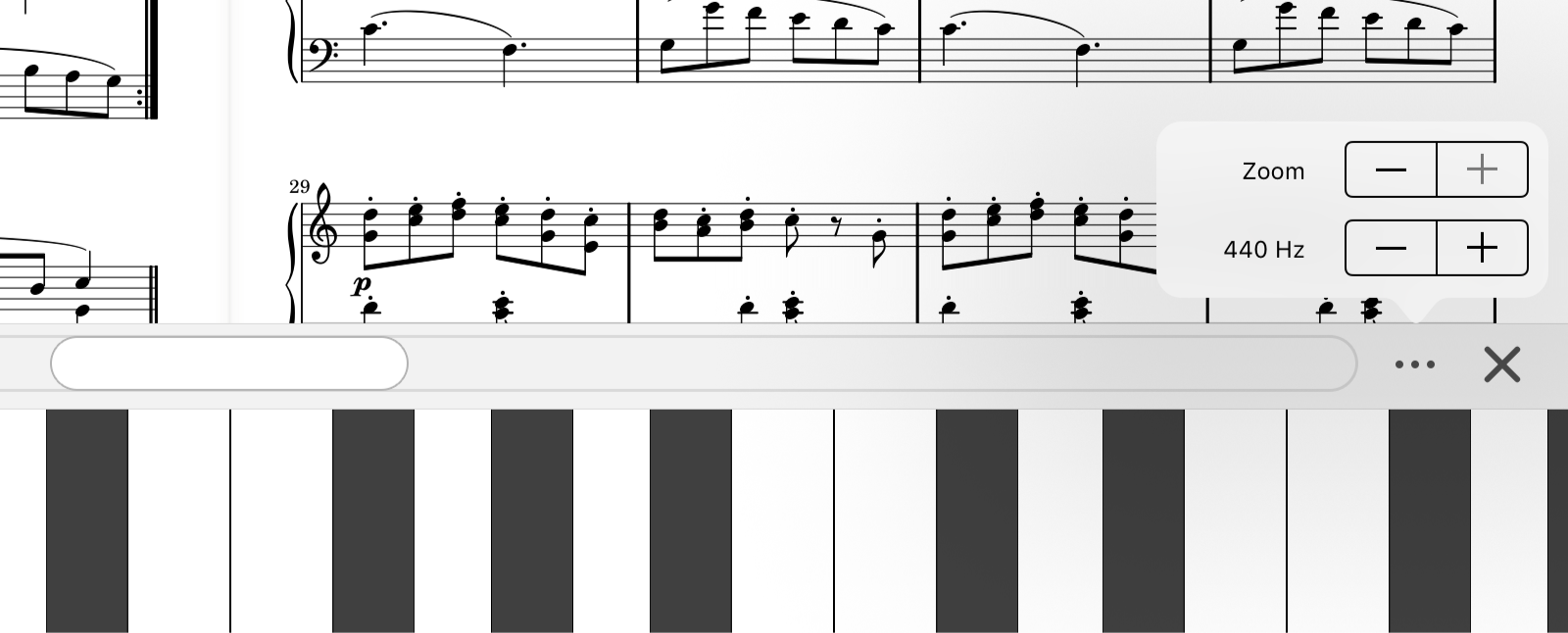 piano keyboard customization tools in forScore 11