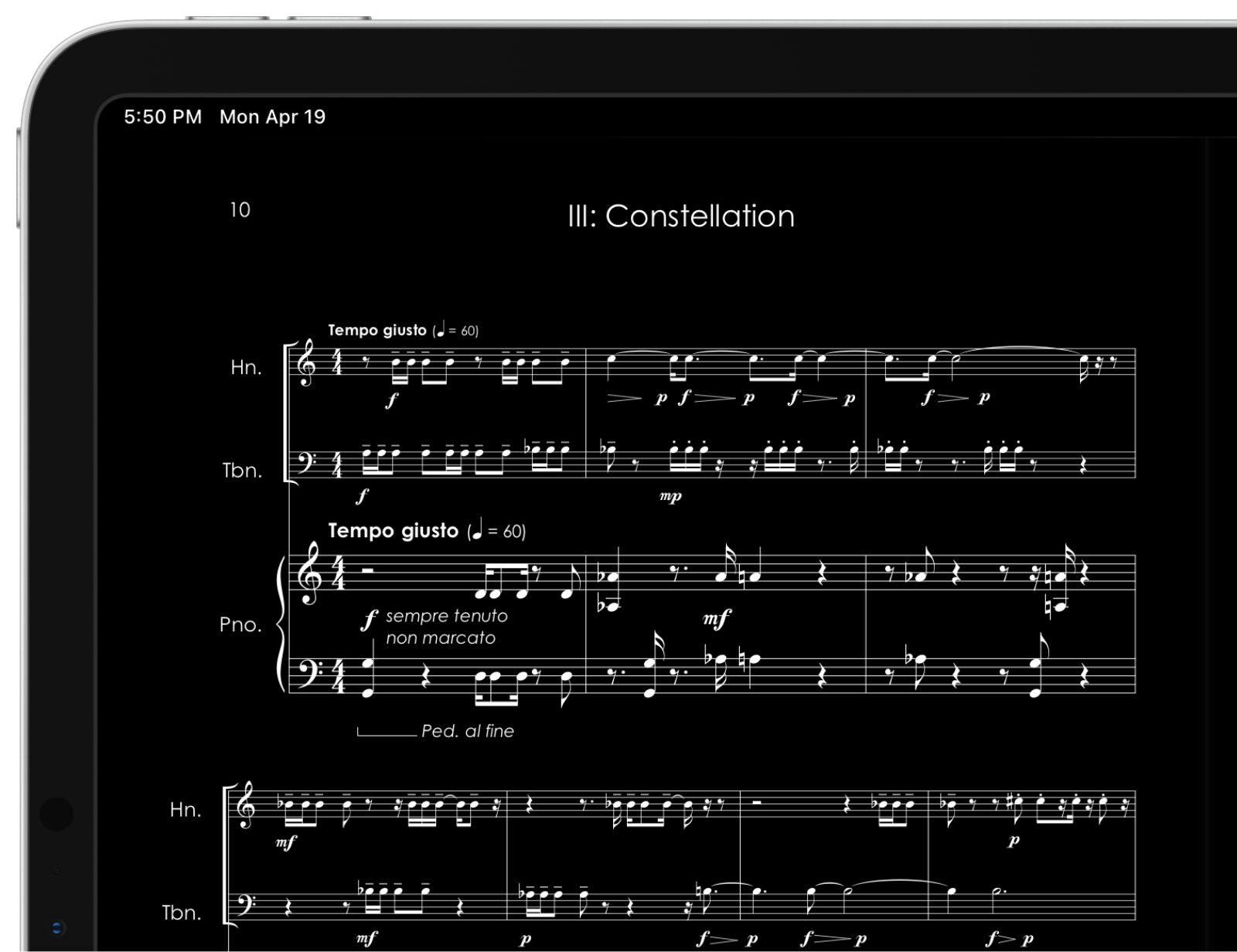 A score with inverted colors