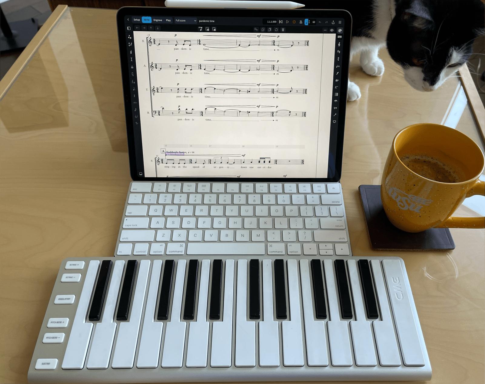 Photo of iPad, Keyboard, and MIDI