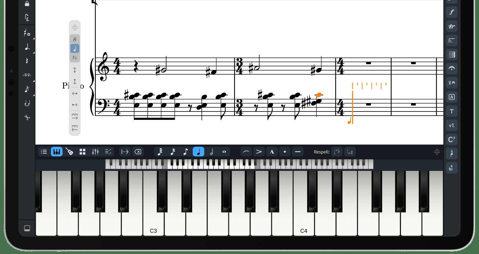 On-screen piano keyboard in Dorico for iPad
