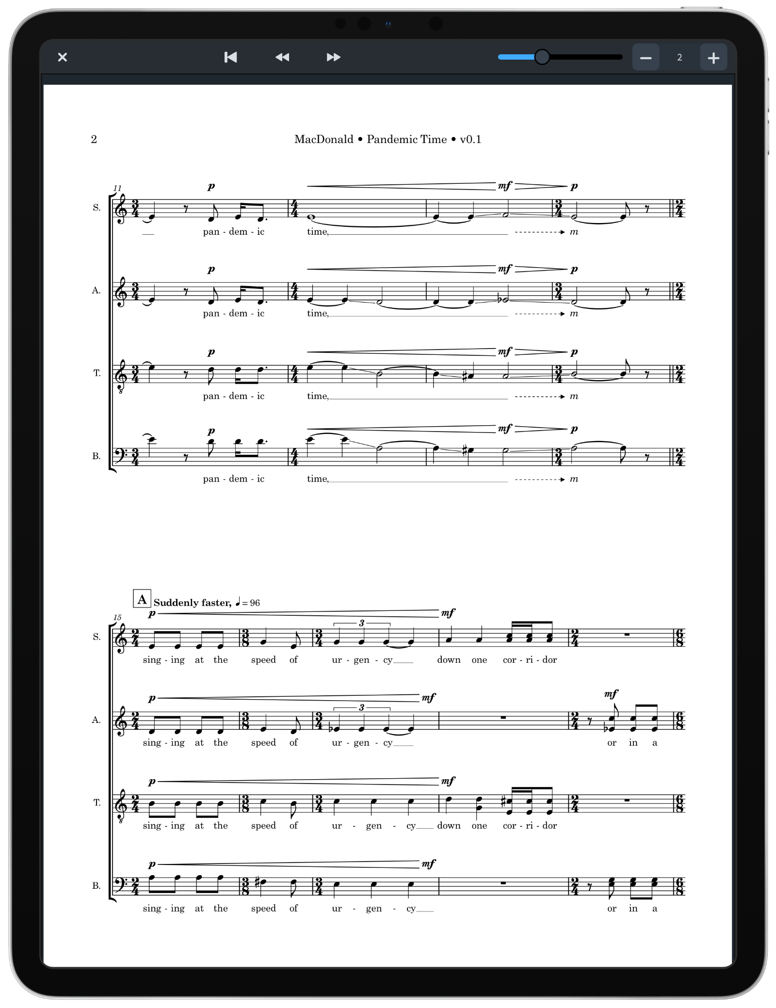 Page of a score in Read mode