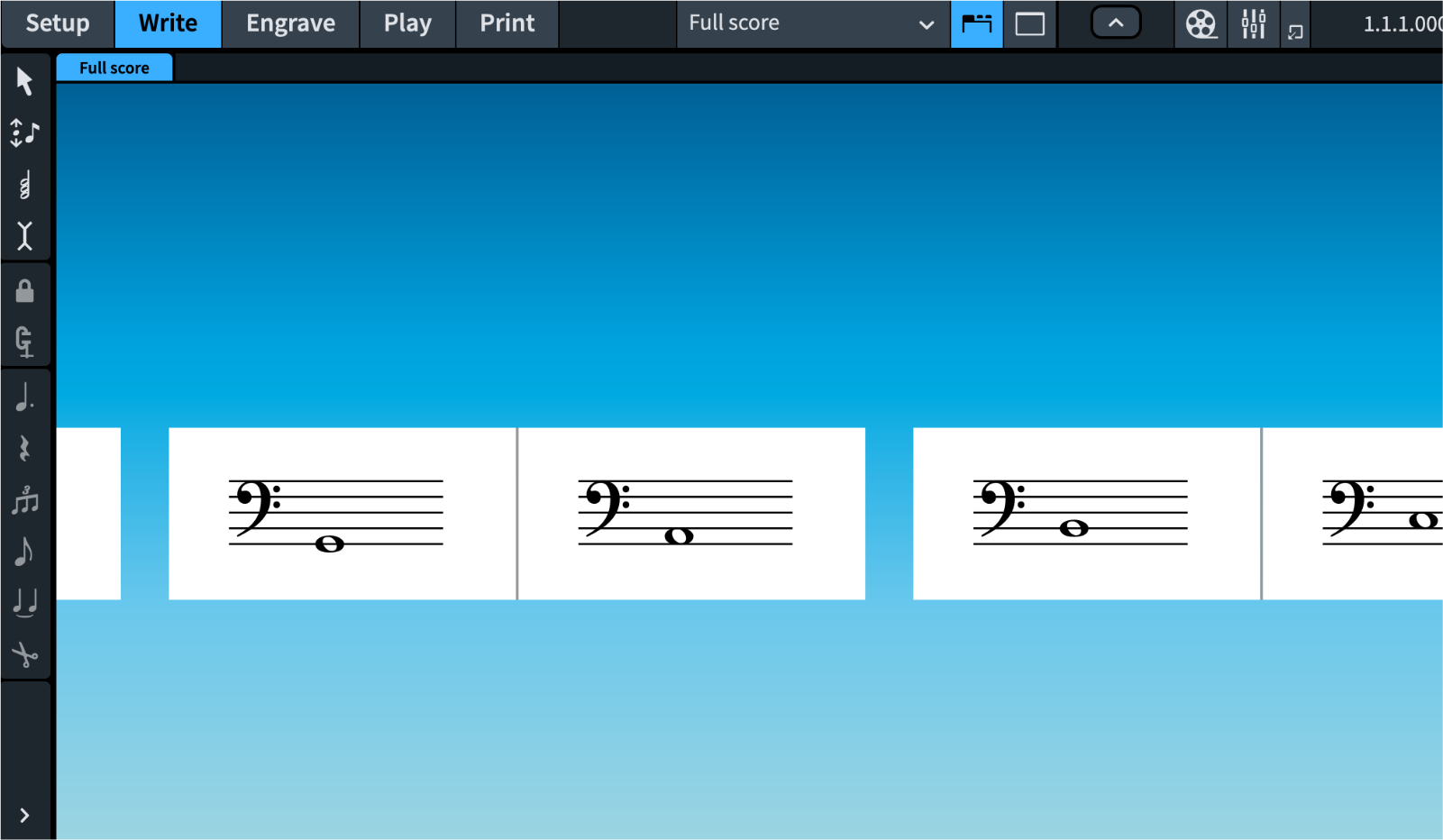 Very small page size example in Dorico