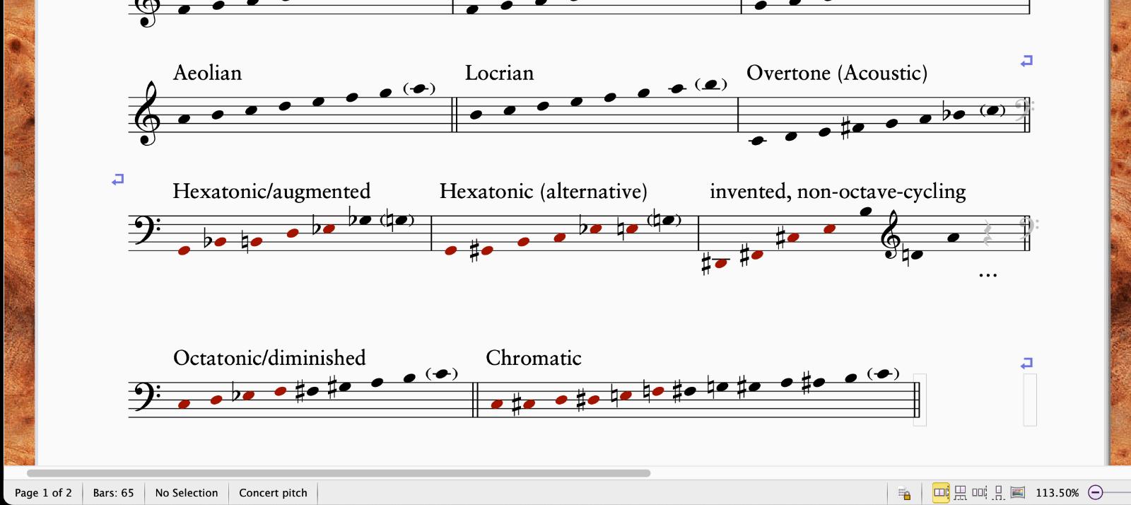 Scale excerpt in Sibelius with hidden items